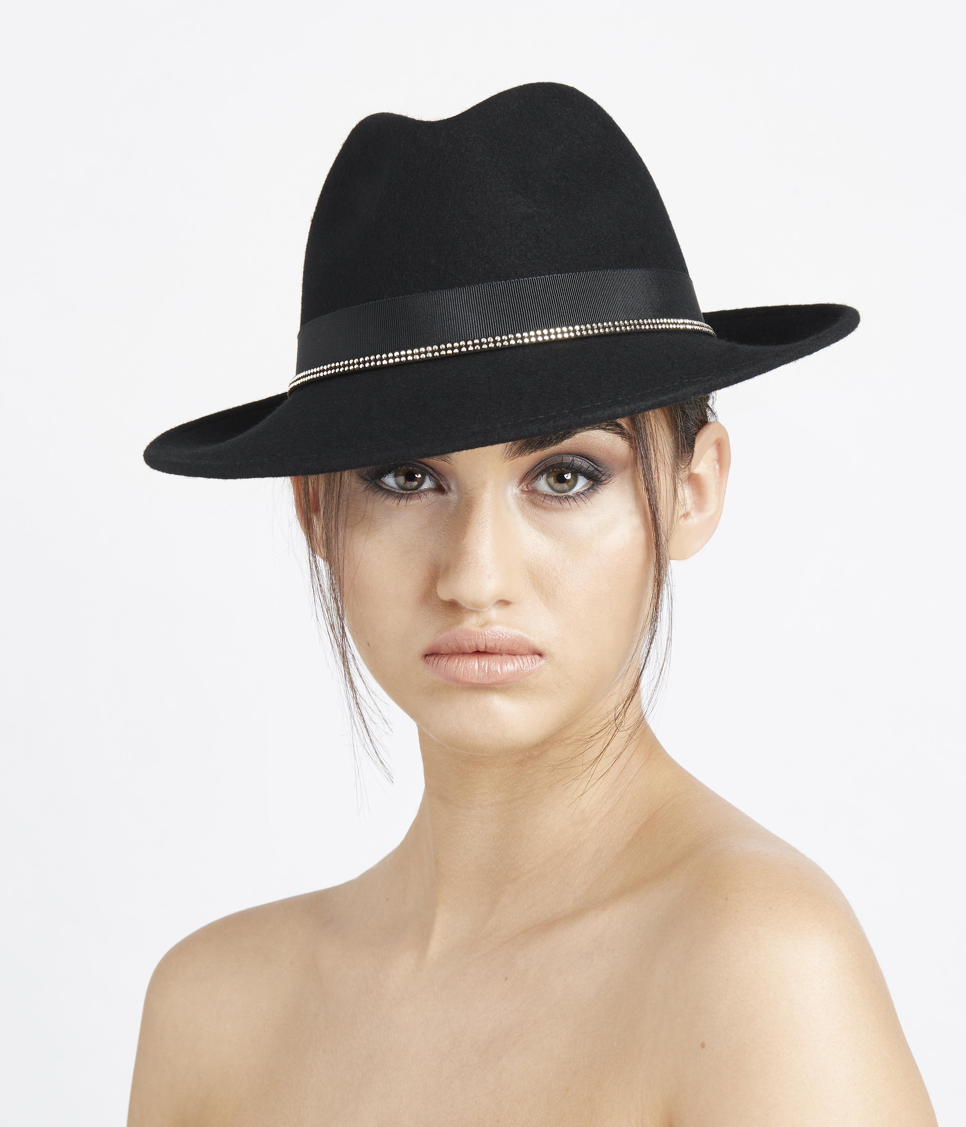 954dda0d4e44d Velour Fur Felt Hats   Stud Trilby
